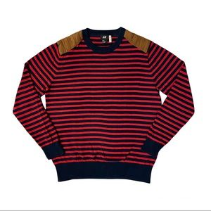 H&M Men's Red Navy Striped Sweater Size M